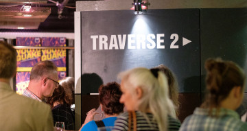 A crowd gather in the Traverse Theatre Bar.