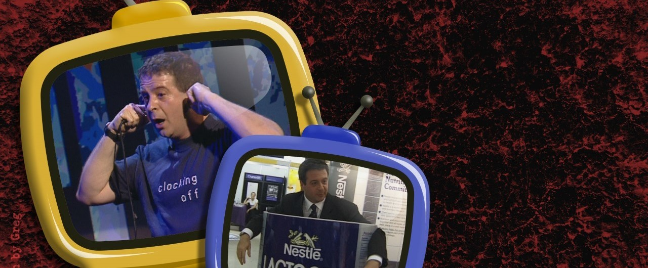 Two illustrated televisions featuring photos of Mark Thomas. In one photo Mark is standing with his fingers in his ears and in the other he's holding an airport sign.