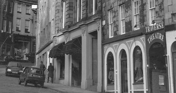 Black and white photograph showing the original building the Traverse Theatre occupied.