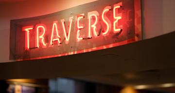 Neon sign, reading 'Traverse'