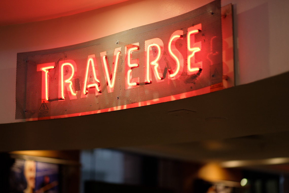 Neon sign, reading 'Traverse'