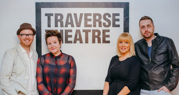 Traverse Associate Artists at TravFest19 Launch. L-R Tim Price, Stef Smith, Mora Pearson and Rob Drummond. Image Mihaela Bodlovic