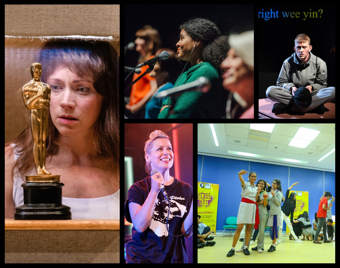 Collage of production images. On the left, a woman stares at an Oscar statue. In the centre top, a line of women stand behind microphones. Below that, a woman sings into a microphone. On the top right of the image a teenage boy wearing a tracksuit sits on a table. Below that, a group of school girls pose for a photo being taken on one of their phones.
